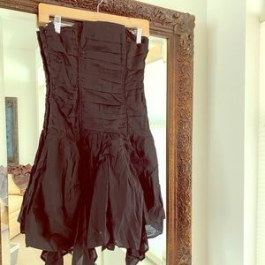 Strapless black cotton dress